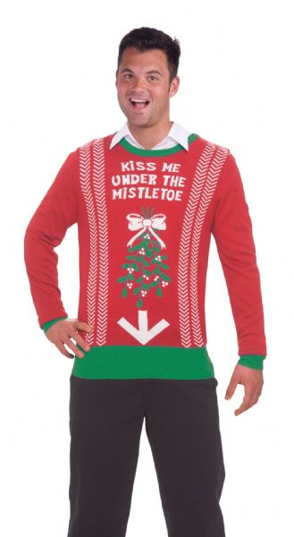 Adults Mistletoe Sweater Costume Christmas Xmas Fancy Dress Outfit